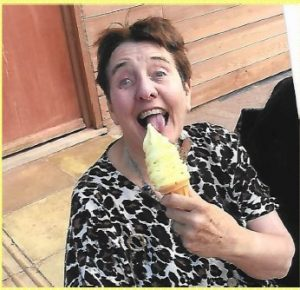 Resident of troed y bryn enjoying an ice cream