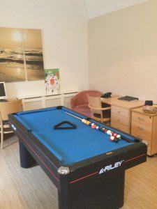 Pool table at the Ivers house care home